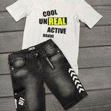 Джинсовые шорты мальчику подростку Off-White