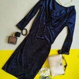 Коктейльное велюровое платье миди