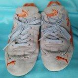 Кроссовки Puma оригинал р.39 серые на шнурках натуральная замша и кожа