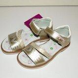 Кожаные босоножки золотые для девочек ортопедические 26-31