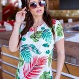 блузка Ткань супер софт Цвет тропики на белом
