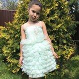 Нежное мятное платье с юбкой из органзы 116