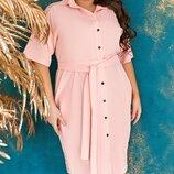 Летнее платье рубашка супер батала ткань супер софт с гипюровыми вставками до 66р.арт.68328 скл.1