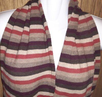 теплий коричневий шарф полоска котон