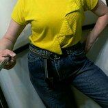 винтажная желтая футболка топ ретро 80-е хлопковый трикотаж