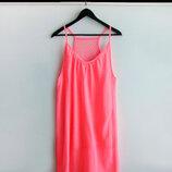 Пляжное платье туника ярко-розового цвета
