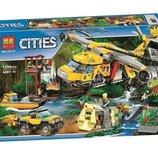 Конструктор Bela 10713 Вертолёт для доставки грузов в джунгли 1298 деталей аналог Lego City 60162