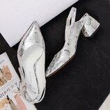 Код 7431 Элитная коллекция Летние туфли с открытой пяткой Натуральная итальянская кожа с тиснением