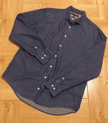 Рубашка джинсовая мужская синяя Сорочка чоловіча джинсова Tommy Hilfiger Томми Хилфигер