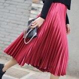 Шифоновая юбка миди плиссе s марсала Vero Moda