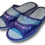 Комнатные женские кожаные тапочки Polmar P202v