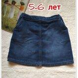 Стрейчевая джинсовая юбка на 5-6 лет