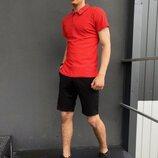 Подарок Костюм Intruder LaCosta летний красно - черный Мужская футболка поло Мужские шорты трикот