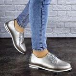 Женские туфли кожанные серебристые Cisco