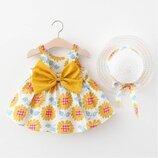 Летнее платье с подсолнухами и шляпка для девочки р.80-98