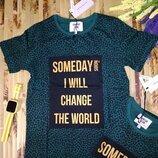 Премиум бренд футболка для мальчика зелёная с надписями