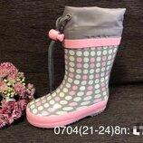 Резиновые сапоги 21-24р. biki 0704 горохи grey-pink ,13