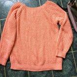 Вязанная кофта свитер 42р. джемпер персиковый вырез лодочка