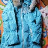 Зимний пуховик пальто бирюзовое