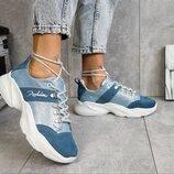 Голубые кожаные кроссовки