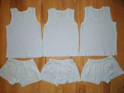 3 шт набор комплект майка трусики боксеры белья перфорированная ткань хлопок