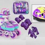 Ролики раздвижные Best Roller р 27-30, 30-33, 34-37 с шлемом и защитой фиолетовые
