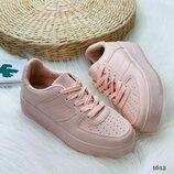1612 Стильные кроссовки. Цвет- розовый. Материал - эко-кожа
