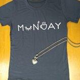 Женская хлопковая футболка с милым принтом monday