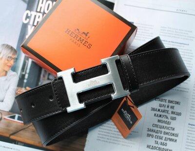 Кожаный ремень Hermes black