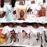 Женские футболки с принтами , качественные принты -рисунки не накатка