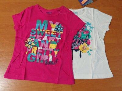 Качественные футболки для девочки р.110/116 хлопковая футболка Lupilu, Германия