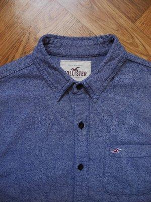 Мужская рубашка синяя байка мягка меланж Hollister M