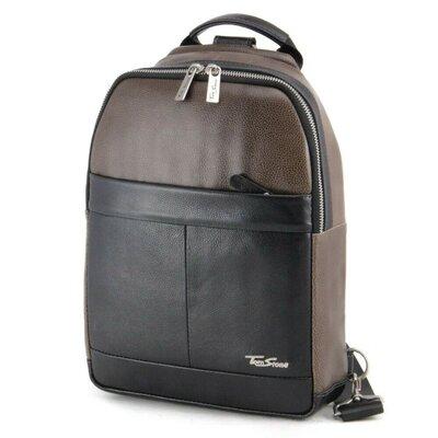 Сумка-Рюкзак мужская кожаная Tom Stone 310 B черный с оливковым