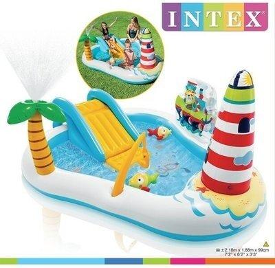 Надувной игровой центр Intex 57162 Веселая Рыбалка, бассейн 218x188x99 см, с удочкой, рыбки