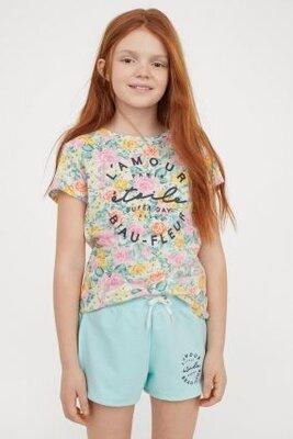 Летний комплект футболка и шорты H&M для девочек 10-12 лет
