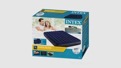 Надувной матрас двухместный с подушкам и насосом INTEX 64765 Синий
