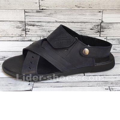 Мужские кожаные сандалии темно синего цвета