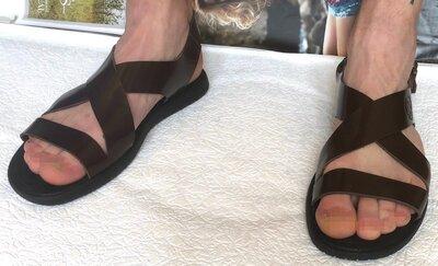 Мужские кожаные коричневые сандалии Diesel casual Очень стильные