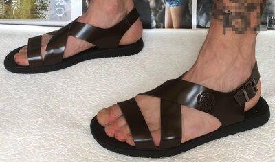 Мужские кожаные коричневые сандалии Diesel casual Новинка