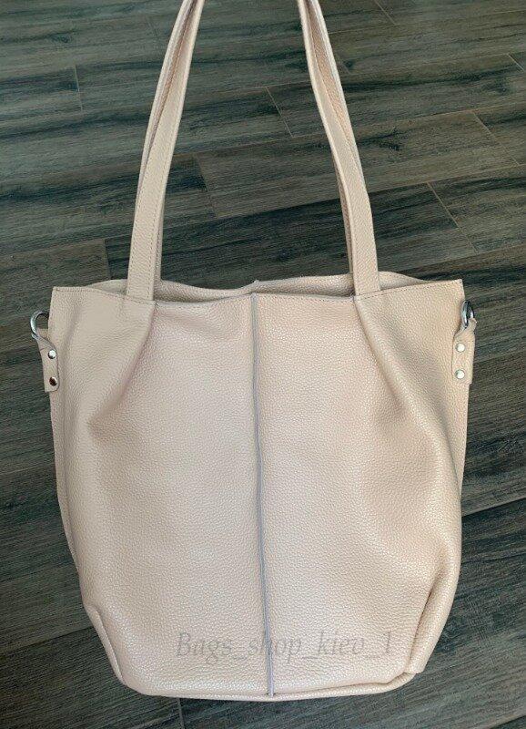 Вместительная кожаная пудровая женская сумка 2 в 1 разные цвета: 1350 грн - большие сумки в Киеве, объявление №26046068 Клубок (ранее Клумба)