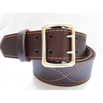 Ремень офицерский кожаный коричневый 5 см ширина длина 130 см
