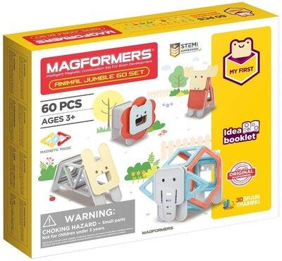Magformers Магнитный конструктор 60 деталей мои первые животные my first animal jumble