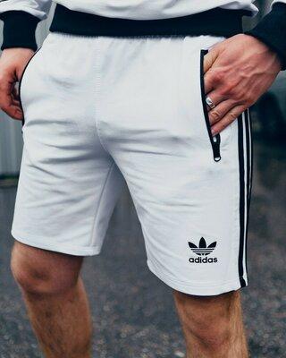 Шорты трикотажные в стиле Adidas Three line белые