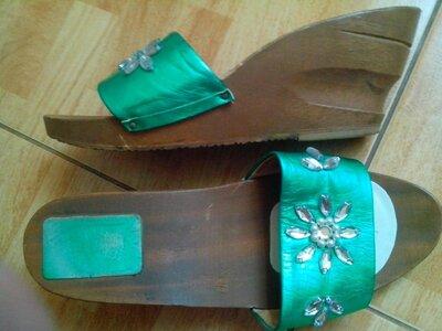 Рр 38-24 см стильные яркие шлепанцы сабо от moda legno