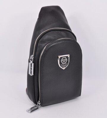 Кожаная сумка-слинг через плечо, бананка philipp plein 826 черная