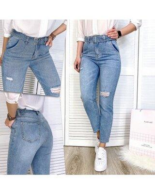Мом джинсы с высокой посадкой с пояском момы mom