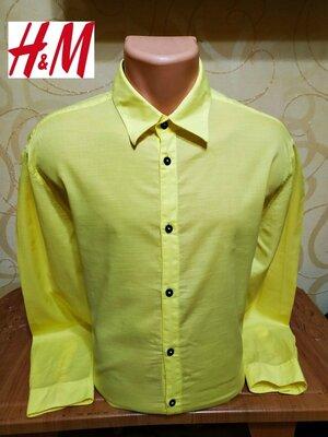 Ультрамодная ярко желтая рубашка h&m, пр-во бангладеш