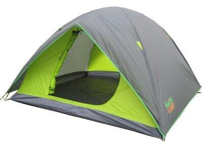 Туристическая палатка Green Camp 1018-4 С козырьком. 4-х местная. 2-х слойная