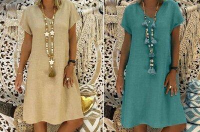 Женское класическое платье по колено из льна v-вырез 40-70 размер