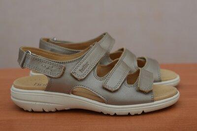 Кожаные босоножки, сандалии на липучках Hotter цвета золотистого хаки, 37 размер. Оригинал